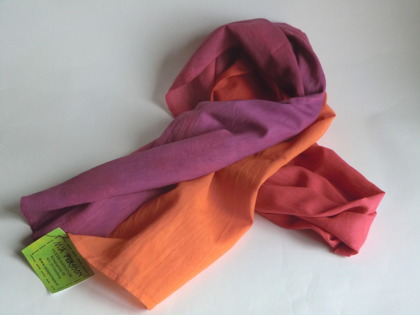 Orange-röd-lila lång sjal
