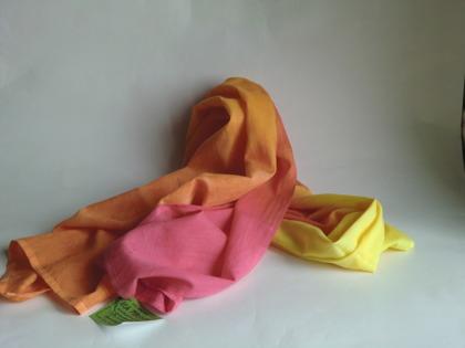 Rosa-orange-gul lång sjal