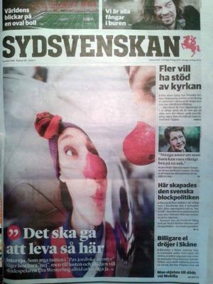 Första gången jag är på omslaget till Sydsvenskan - SDS.