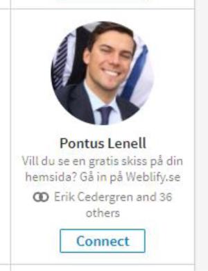 BRA exempel på #2 - TAG-line. Jag känner inte Pontus men gillar hans yrkestitelrad väldigt mycket.