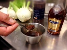 Senapsfrön, malda espressobönor och konjak - en början till Spis & Vins egna senap.