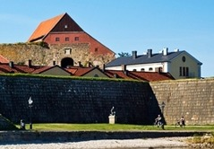 Varberg fortress with Halland Museum of Cultural History with the oldest parts from the 13th century. The remains of the Bocksten Man from the 14th century as well as the Kulknappen, the shot that assumed to have killed Karl XII can be viewed here.