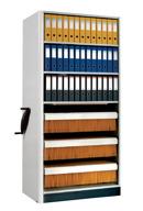 Kompaktarkiv med hyllor för pärmförvaing och hängmappsinredning