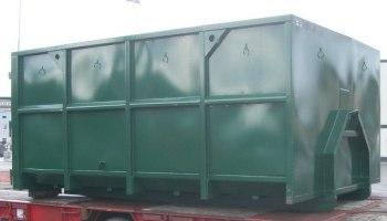 Öppen lastväxlarcontainer med lilla kroken