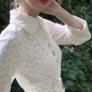 coat Mildred creme white lace