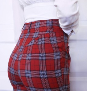 pants jackie red checkered - 36
