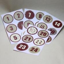 Kalendersiffror 1 - 24  röd/vita