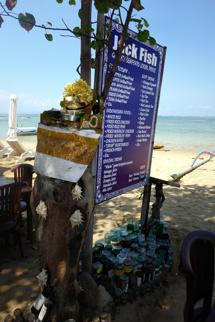 menyn på Jack Fish strandbar...