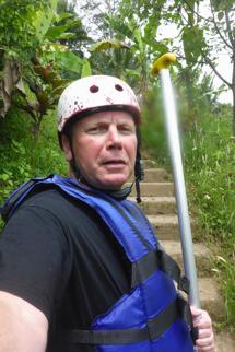 så här ser man ut efter tre timmars forsfärd och 300 trappsteg...