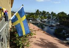 svenska flaggan hissad i Grand Baie...