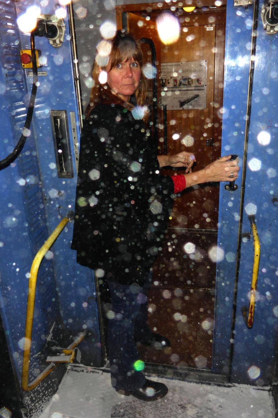 det snöar på tåget hem...