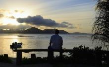 Denzel Washington med en whisky såg solnedgången med oss första kvällen...