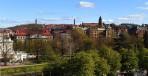 Johannebergs vattentorn till vänster, Johannebergskyrkans torn i mitten och Vasakyrkan till höger...