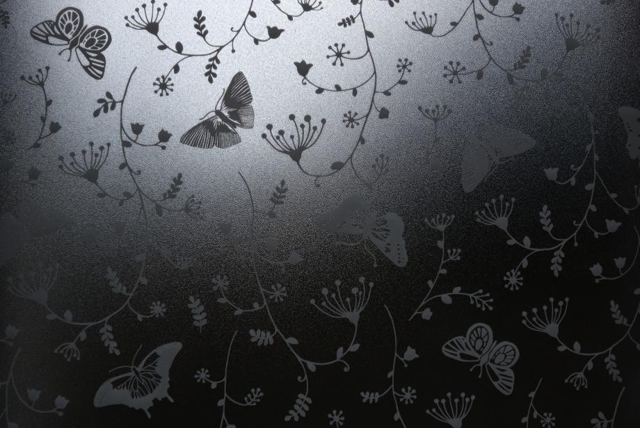 fjärilar i glas... Villa Viks matsalars toalett...