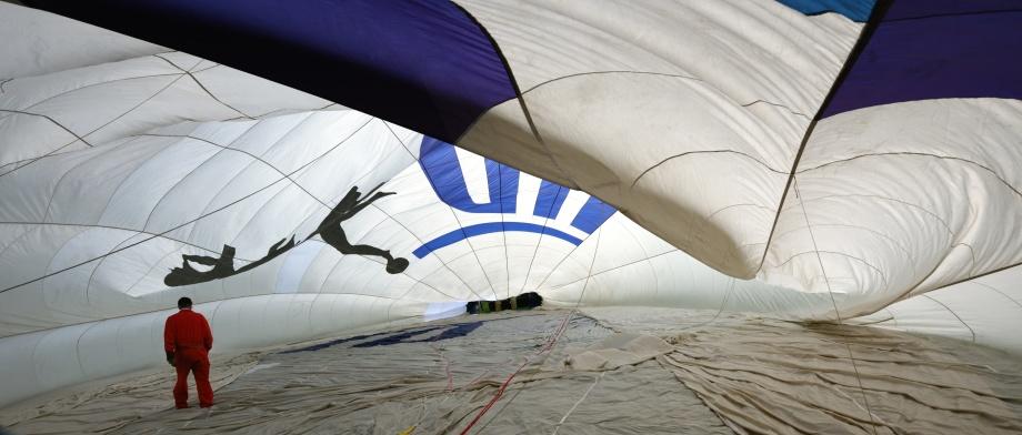 så här ser en luftballong ut från insidan...