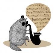 Jazzkatt (Print 30 x 30 cm)