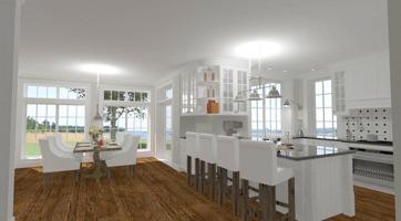 Hus - Förslag 1 - 3D - interiör - 20 - kök och matsal