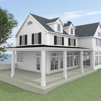 Hus - Förslag 2 - fasad mot sydost - 3D