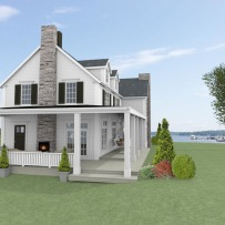 Hus - Förslag 3 - Fasad mot sydost - 3D