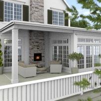 New England Hus - Förslag 7 - Fasad mot sydväst - 3D