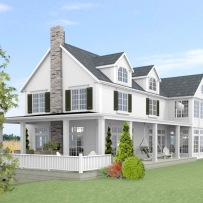 New England Hus - Förslag 6C - fasad mot sydost - 3D
