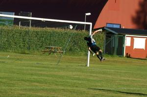 Roger Lindgrens långskott/lobb letar sig in i mål över en vilt sprattlande målvakt i Triangelns IK