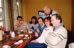 Fikarummet längst upp. Från vänster: Rune Wandland, Christer Zander, Rune Gustafsson, Carl-Magnus Gustafsson, Marianne Gustafsson & Klintenberg