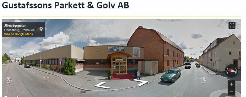 Vår nuvarande butik och entreprenadverksamhet på Järnvägsgatan 8 i Lindesberg. BIld från Google Maps