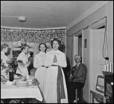Luciafirande på ålderdomshemmet i Fågelvik 1955.
