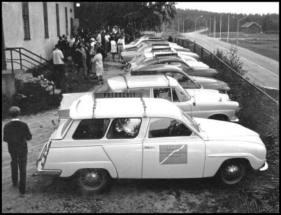 Funktionärer vid Stora Lee-Foxen loppet 1968 samlas i Töcksfors Folkets Hus.