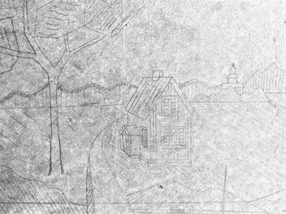 Fynd från slussvaktarstugans vind. Skiss på slussvaktarstugan med kyrkan i bakgrunden.