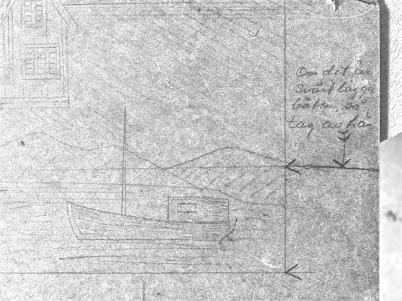 Fynd från slussvaktarstugans vind. Skiss på båt i kanalen.