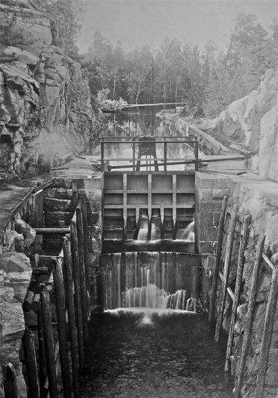 Nedre slussen i Töcksfors 1923.