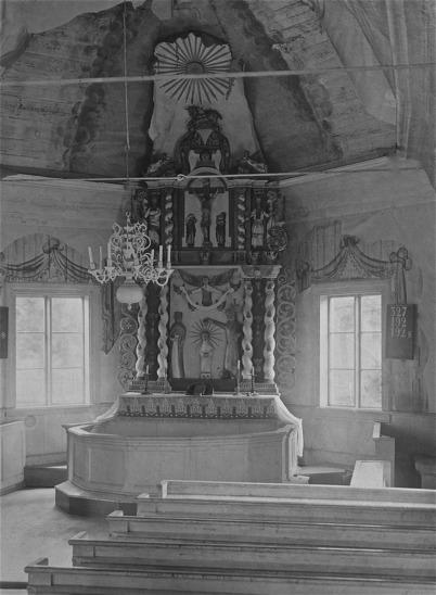 Töcksmarks kyrka. Koret före restaureringen 1923.
