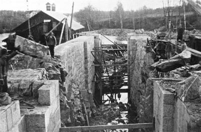 Byggnation av övre slussen 1911 - 1915.