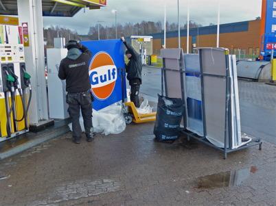 8 januari 2014 - I Töcksfors fortsatte ombyggnaden från Shell till Gulf.