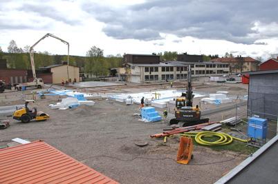 5 maj 2014 - I Årjäng fortsatte arbetet med läggning av grunden till nya högstadieskolan.