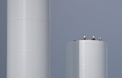 18 juli 2014 - Det fanns dom vid vindkraftsbygget som hade riktiga höjdarjobb.