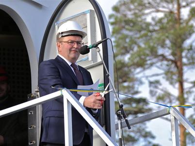 3 oktober 2014 - Landshövding Kenneth Johansson klippte bandet vid vindkraftverk nr 3 och förklarade vindkraftsparkerna för invigda.