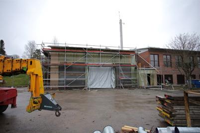21 november 2014 - Arbetet med ombyggnaden av brandstationen flyttade inomhus.