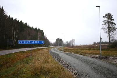 14 november 2014 - Belysningsstolparna är på plats längs med gång- och cykelvägen från bostadsområdet Prästnäset mot Töcksfors centrum.