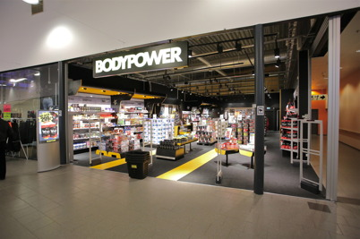 Bodypower säljer kosttillskott i shoppingcentret.