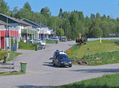 21 maj 2014 - Läggning av slangar för fiberstamkabel vid Ängsvägen.