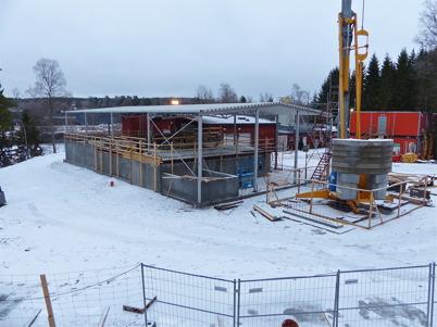 6 januari 2013 - arbetet med byggnation av nya reningsverket fortsatte.