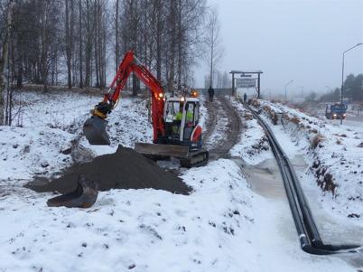 7 januari 2013 - HL Energi grävde ner fjärrvärmeledningar till Shoppingcentret.
