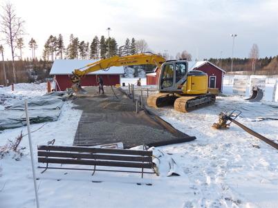 16 januari 2013 - vid Hagavallen lades bädden till klubbstugans bottenplatta.