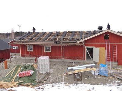 19 mars 2013 - vid Hagavallen fortsatte bygget av nya klubbstugan.