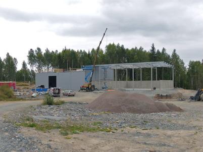 5 september 2013 - nya fjärrvärmecentralen kom under tak.