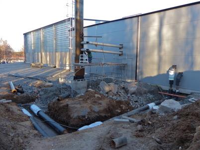28 november 2013 - så var det dags att förbereda driftsättning av nya fjärrvärmecentralen.