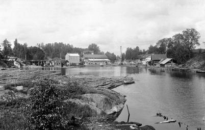 Bruket i Töcksfors med träsliperiet och pappersmassafabriken.